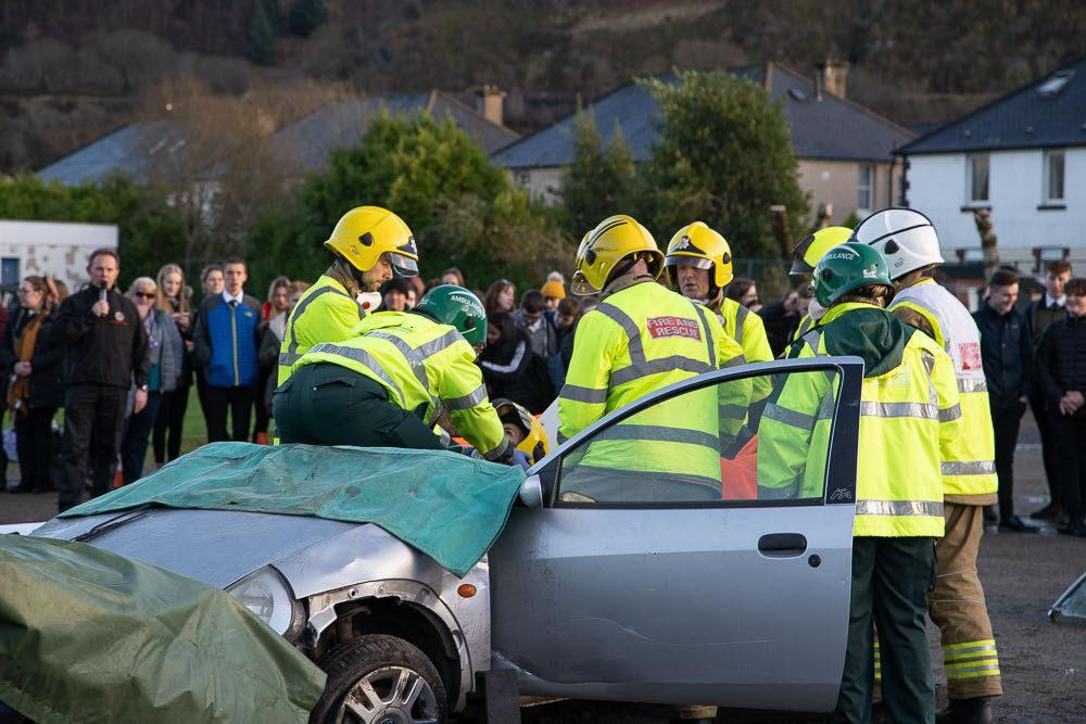 Firefighters are to stage a 'crash scenario' for school pupils