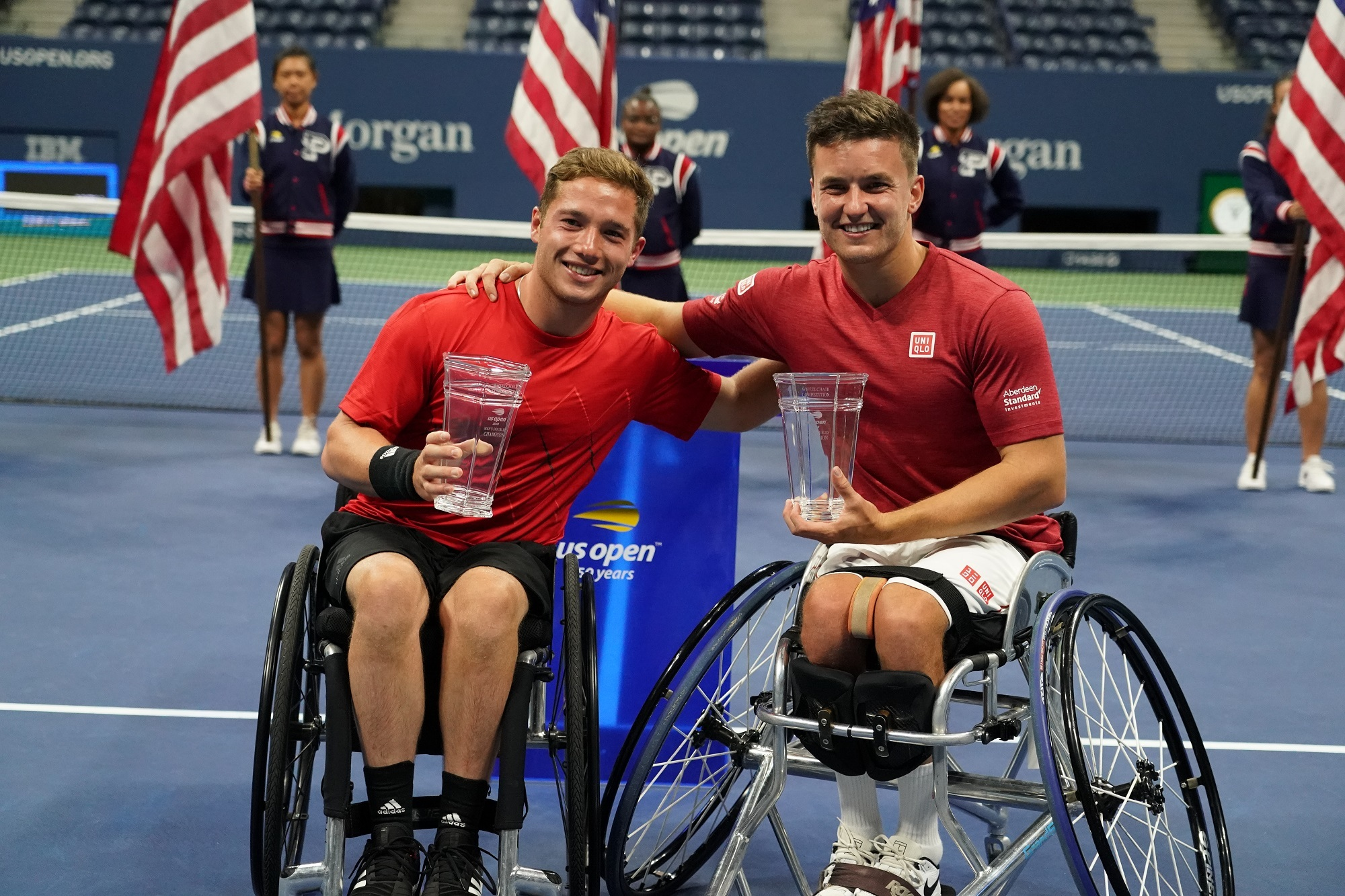 Alfie Hewett and Gordon Reid, pictured after winning the US Open in September, lost in the Australian Open semi-finals (Pic - Tennis Foundation)