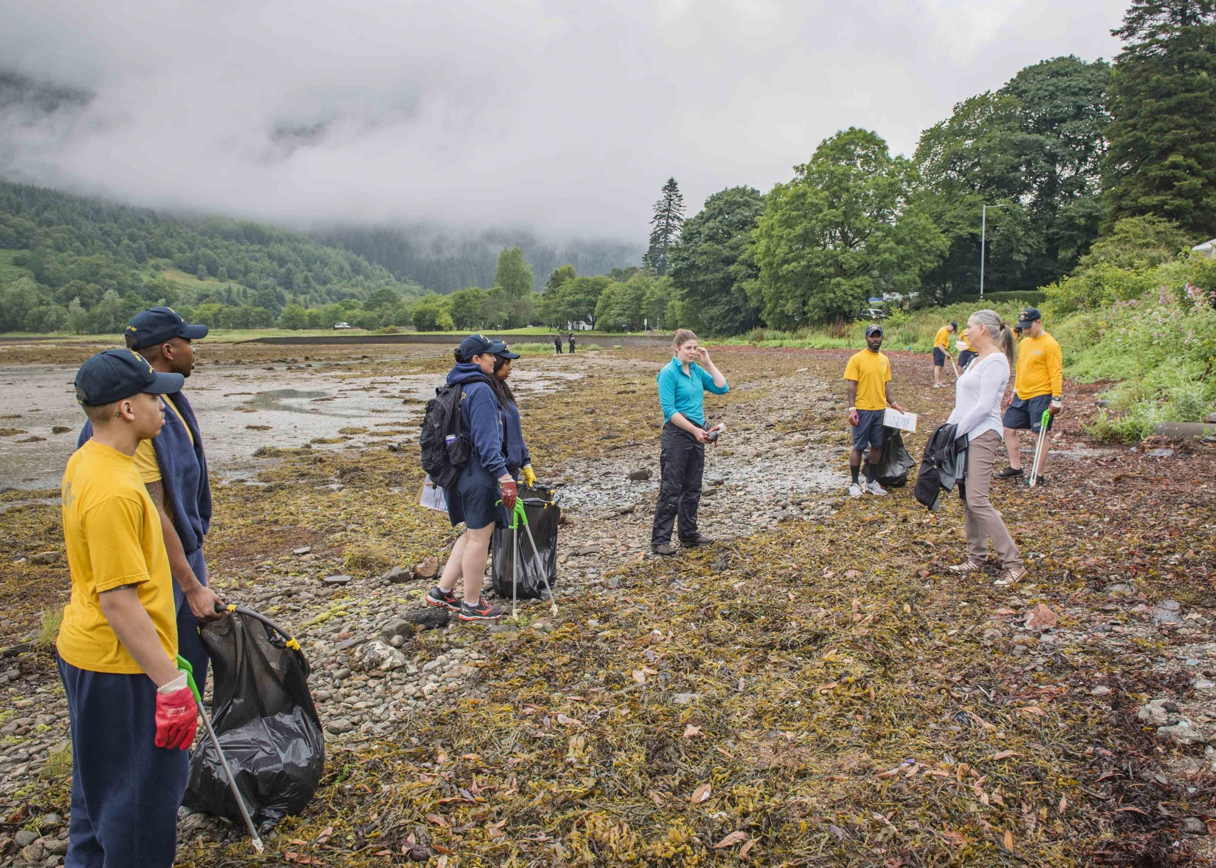 People living in Arrochar have been urged to get behind attempts to keep the Loch Long shore free of marine litter, in addition to one-off clean-ups such as this one undertaken last year by crew members of the US Navy destroyer USS Farragut (Pic - Cristin