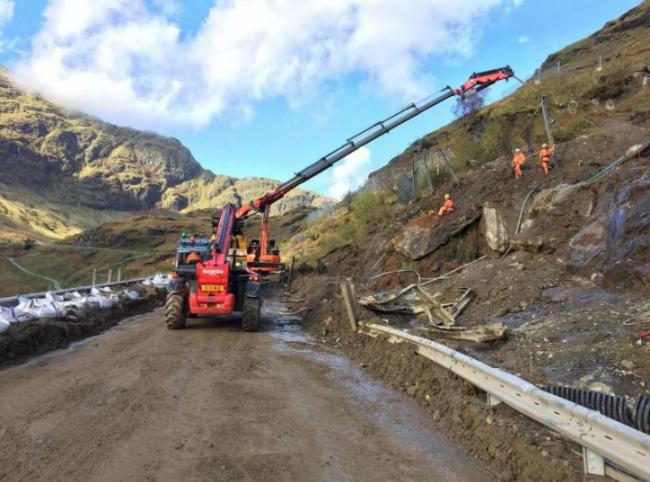 The A83 has suffered frequent closures near the Rest and Be Thankful due to landslip damage