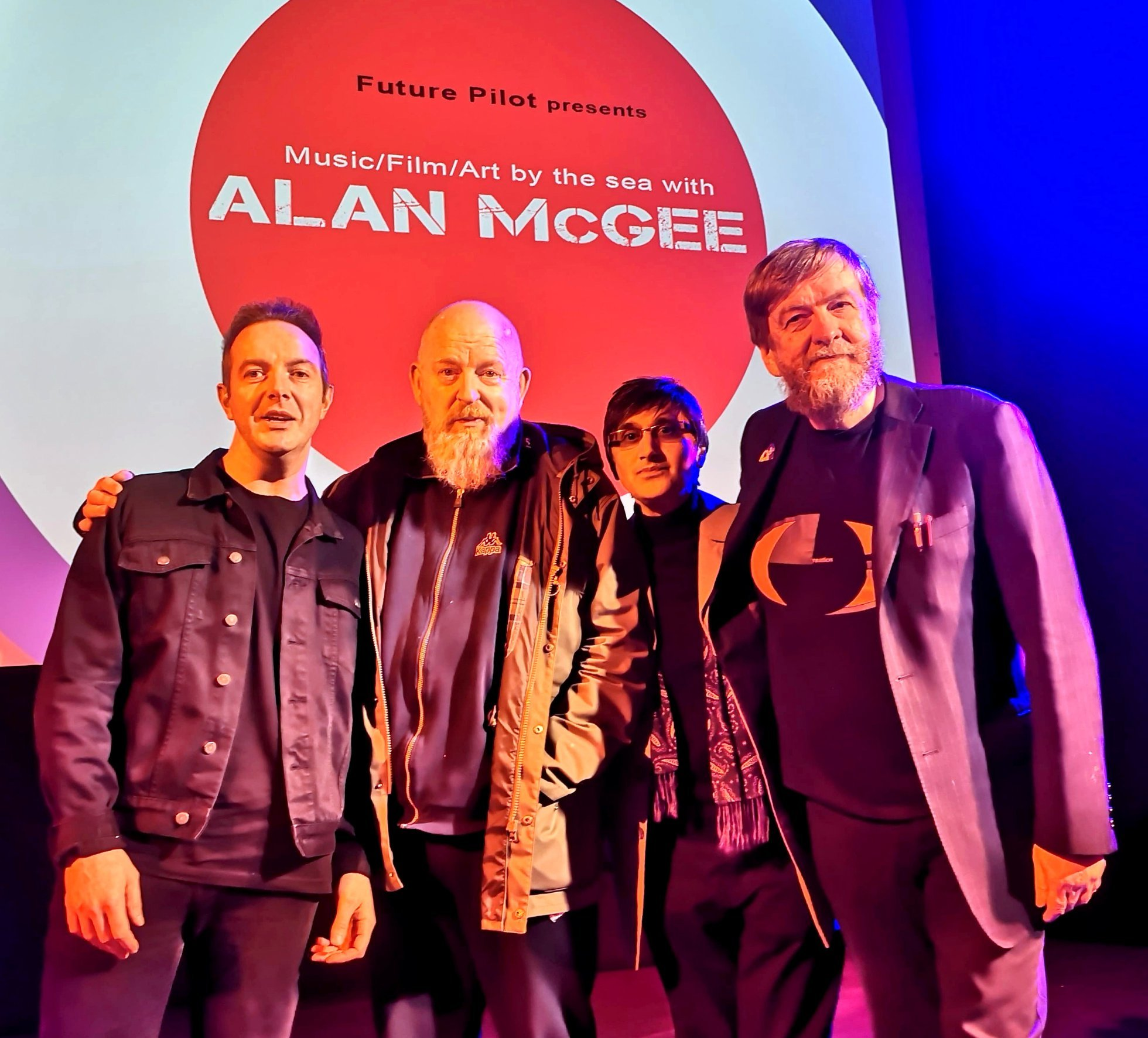 James Allan from Glasvegas (left) joined Alan McGee, Sushil K Dade and Duglas T Stewart at the Helensburgh event
