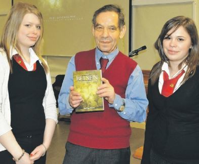 Rudi Oppenheimer with Academy pupils Elaine Morrison and Laura MacKechnie