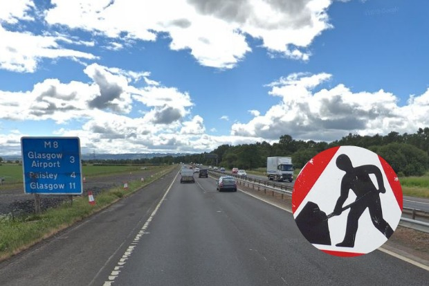Long delays are expected on the M8 this weekend due to roadworks between the Erskine Bridge and Paisley
