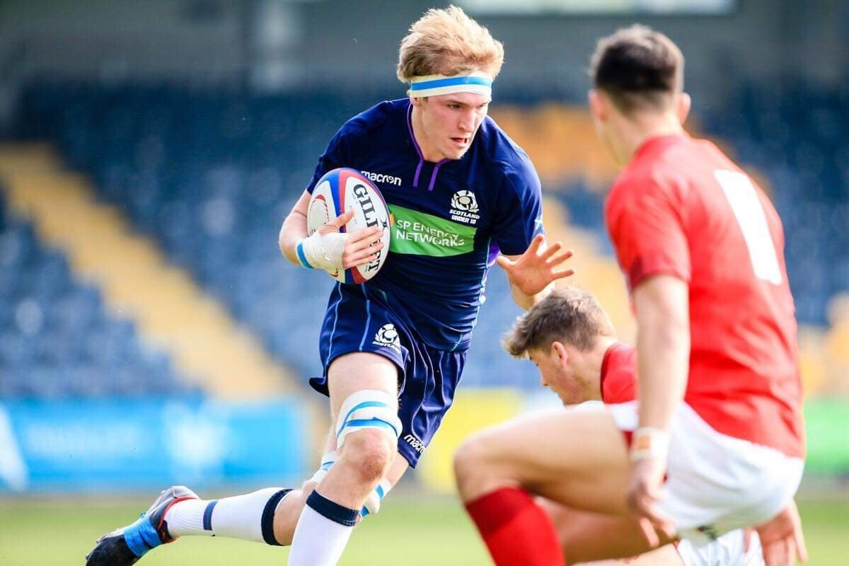 Josh King in action for Scotland's under-18s against Wales at Worcester Warriors' Sixways Stadium in the Six Nations Festival