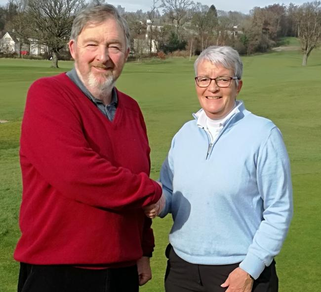 Past captain Stuart Paul welcomes Vicky Hendren to her new role at Cardross Golf Club