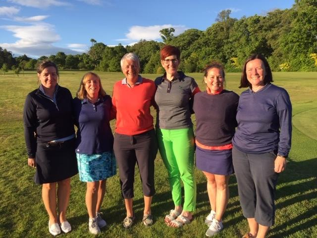 The top three pairs in the ladies' invitational greensomes at Cardross