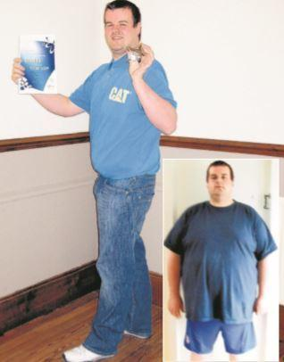 Kevin shows off his new look achieved through Slimming World and as before his diet (inset)